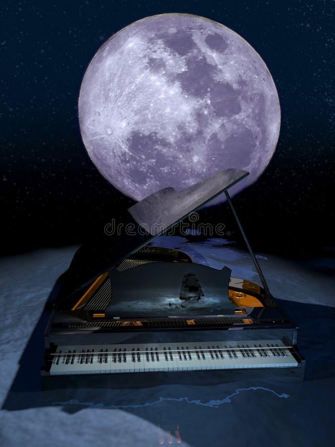 Klavier unter dem Mond lizenzfreie abbildung