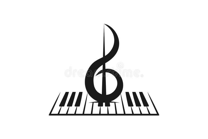 Klavier, Violine, musikalische Logoinspiration lokalisiert auf weißem Hintergrund vektor abbildung