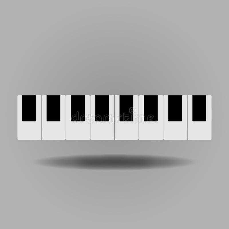 Klavierikone Ton- und Musikikone Flaches Design Auch im corel abgehobenen Betrag lizenzfreie abbildung
