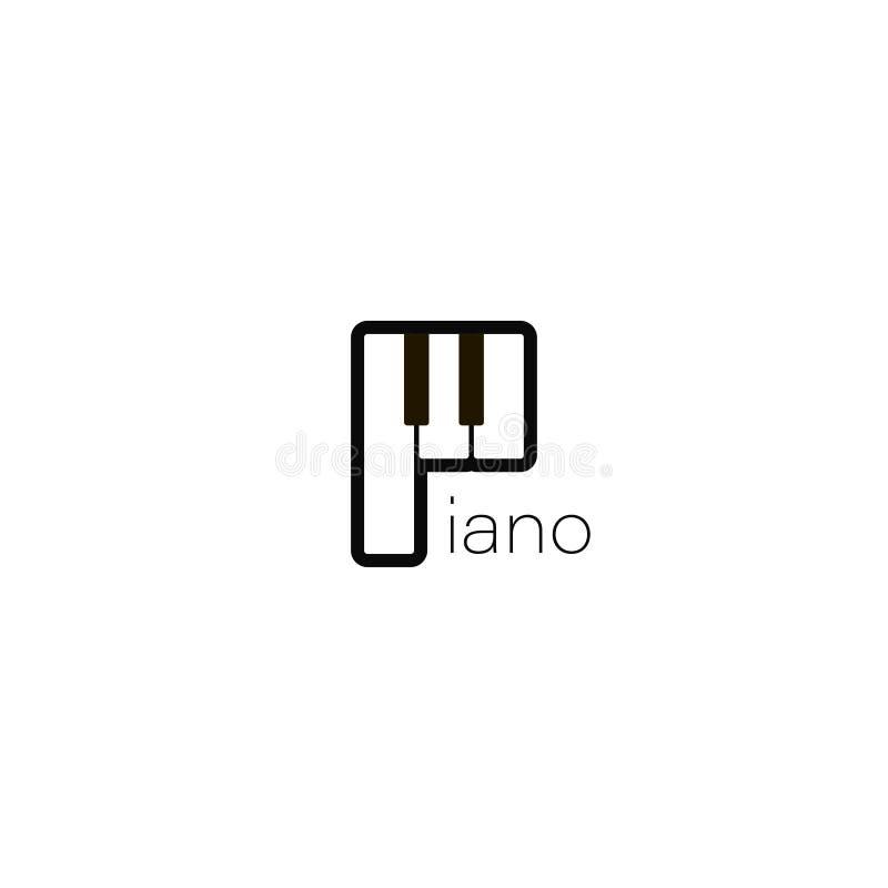 Klavierlogo Musikentwurfsillustration Klavierikone in der flachen Art Musikinstrument des Klaviers auf weißem Hintergrund lizenzfreie abbildung