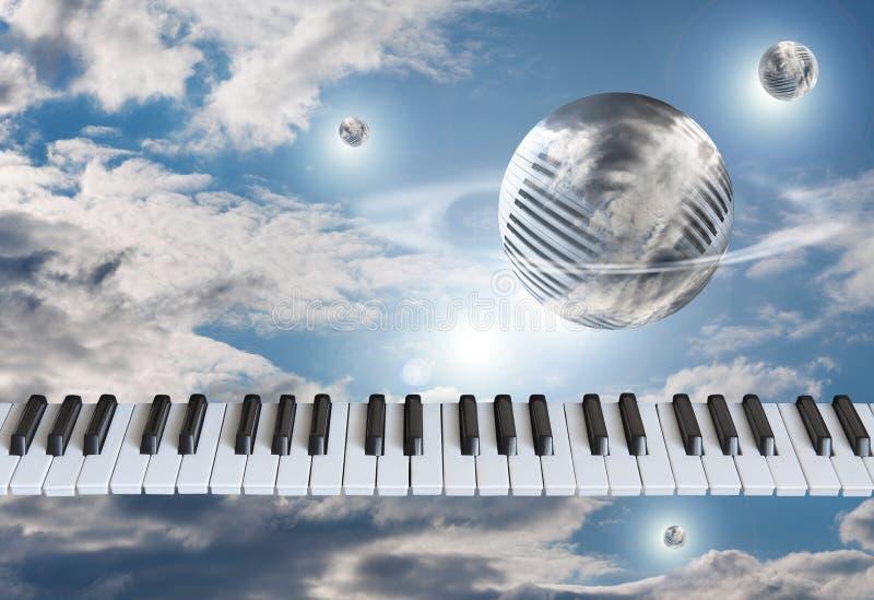 Klavierschlüssel, die Tastatur im Himmel mit Wolken rund um den Globus lizenzfreie stockfotografie