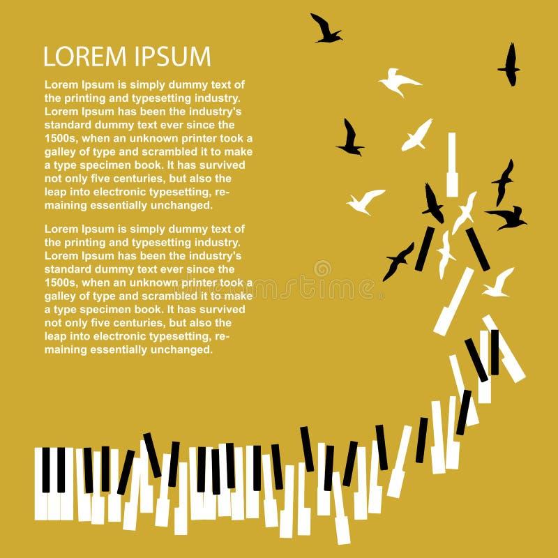 Klavierschlüssel machen zu Vögel Schablone für Konzertplakat Musikfestivalmitteilung stock abbildung