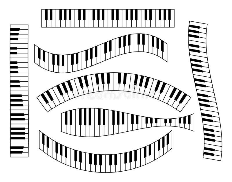 Klaviertastatursatz, lokalisiert auf weißem Hintergrund, Vektorillustration vektor abbildung
