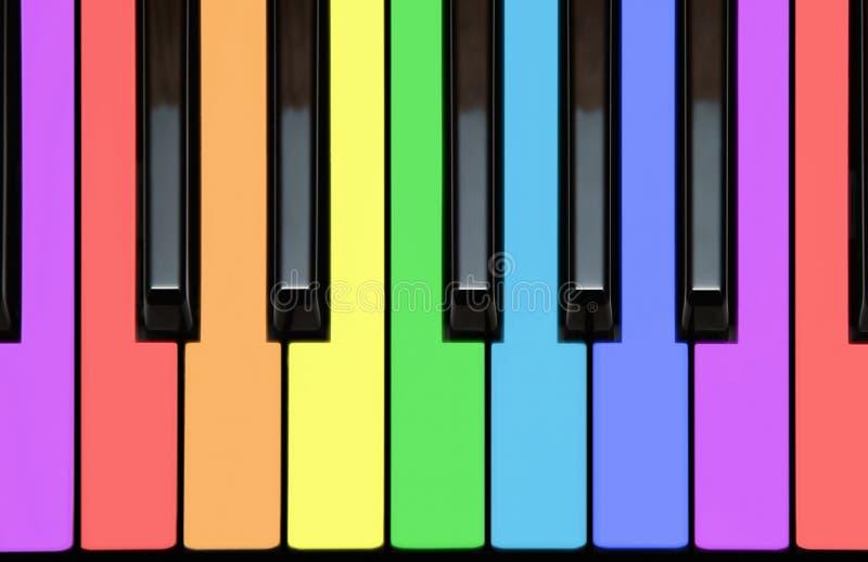 Klaviertasten, keyborad, Anmerkungen in den Regenbogenfarben lizenzfreie abbildung