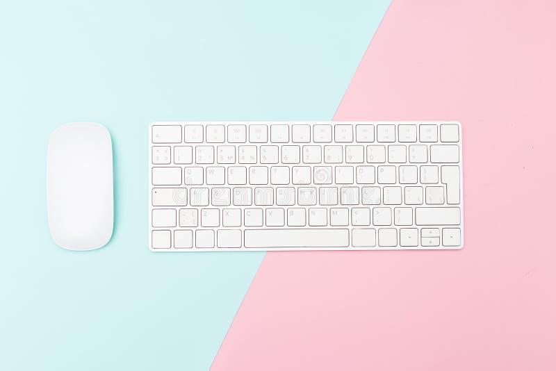 Klawiatura i mysz na dwa brzmień pastelu tle Minimalisty des fotografia stock