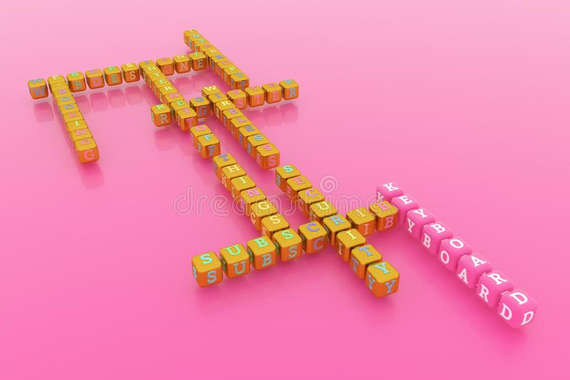 Klawiatura, ict słowa kluczowego crossword Dla strony internetowej, graficznego projekta, tekstury lub t?a, ?wiadczenia 3 d ilustracji