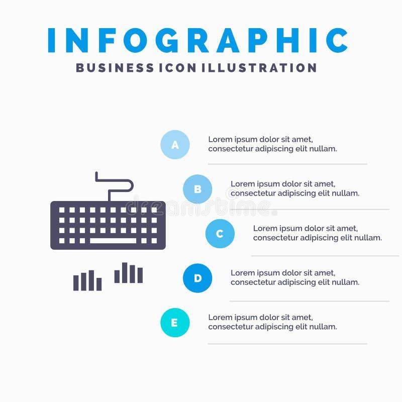 Klawiatura, interfejs, typ, Pisać na maszynie Infographics prezentacji szablon 5 kroków prezentacja ilustracja wektor