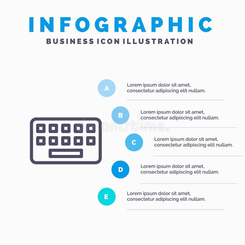 klawiatura, Pisać na maszynie, deska, klucz Kreskowa ikona z 5 kroków prezentacji infographics tłem ilustracji