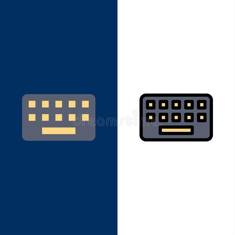klawiatura, Pisać na maszynie, deska, Kluczowe ikony Mieszkanie i linia Wypełniający ikony Ustalony Wektorowy Błękitny tło ilustracji