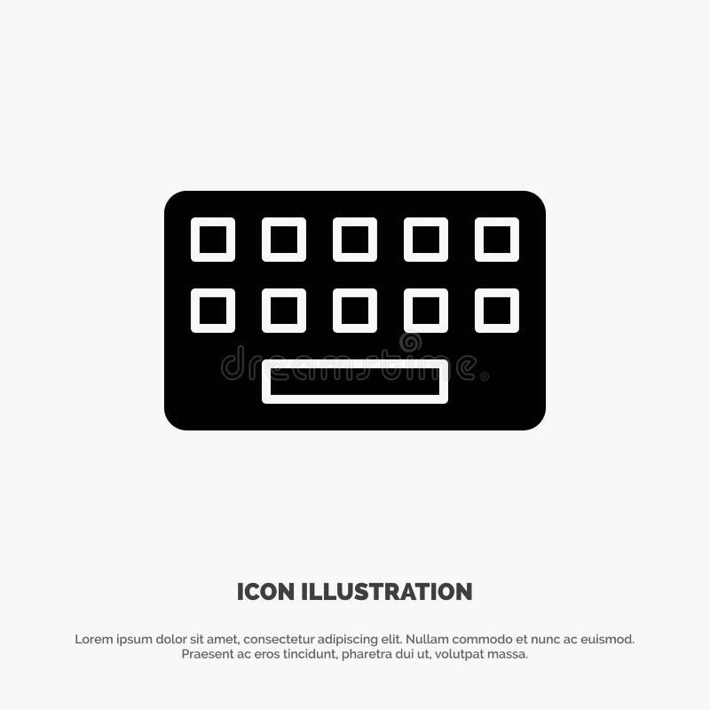 klawiatura, Pisać na maszynie, deska, Kluczowy stały glif ikony wektor ilustracji