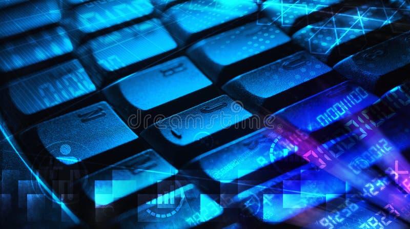 Klawiatura z rozjarzonymi programowanie kodami obrazy royalty free