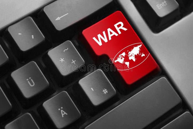 Klawiaturowa czerwień wchodzić do guzika wojennego globalnego symbol zdjęcie stock