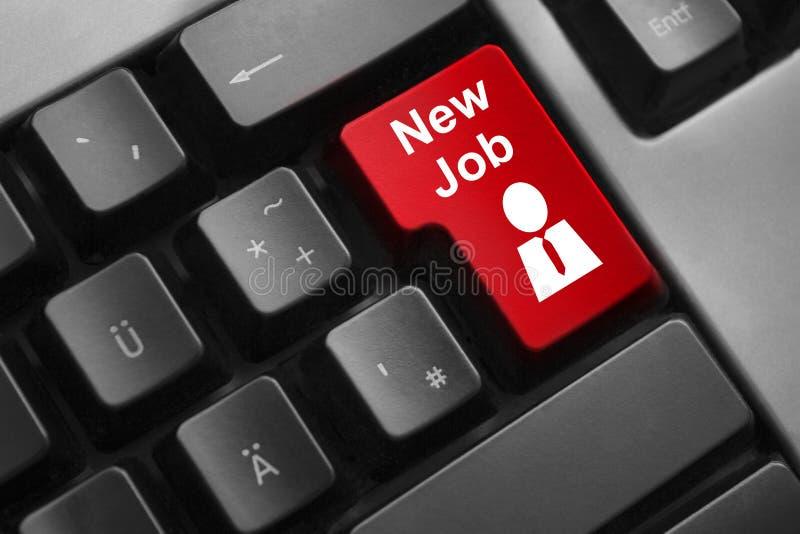 Klawiaturowy czerwonego guzika nowy akcydensowy pracownik zdjęcia royalty free