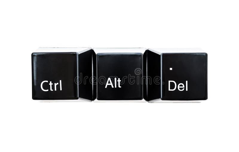 Klawisze komputera klawiatury w kolorze czarnym Ctrl, Alt, Del zamknij w białym tle zdjęcie stock