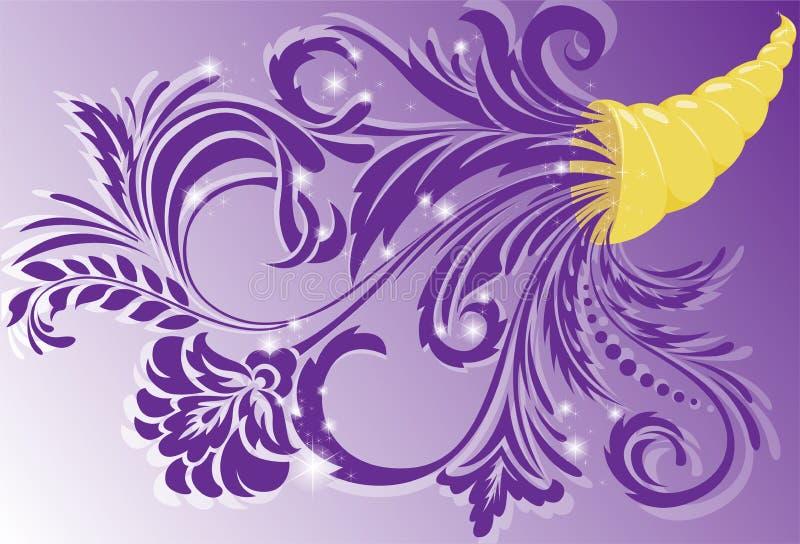 Klaxon d'or d'abondance illustration de vecteur