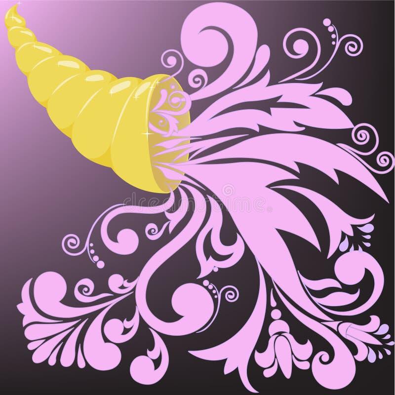 Klaxon d'or de beaucoup illustration de vecteur