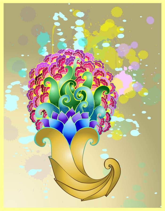 Klaxon d'or de beaucoup avec les configurations florales. illustration stock