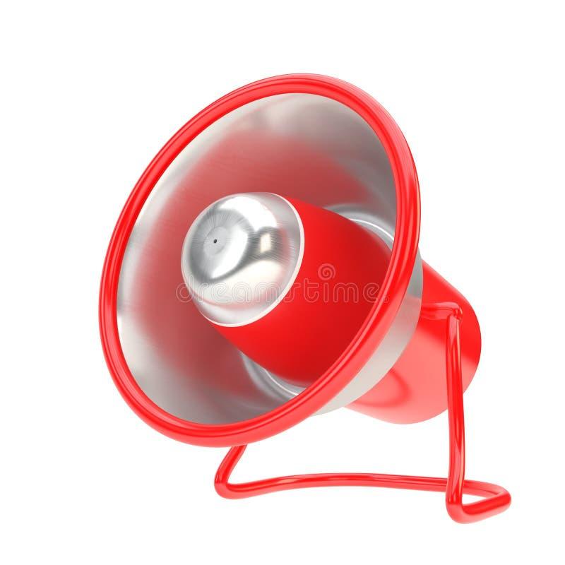 Klaxon en acier et rouge d'Inox en métal de haut-parleur illustration 3D illustration stock