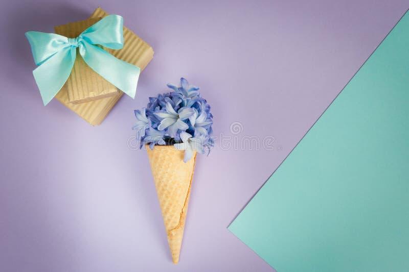 Klaxon ou cône de crème glacée avec la jacinthe pourpre sur un pourpre - fond en bon état images libres de droits