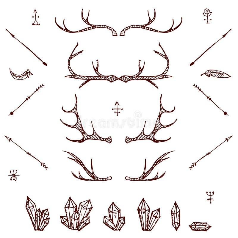 Klaxons, cristals, flèches, plume Ensemble d'éléments illustré de conception Éléments tribals Vecteur illustration de vecteur