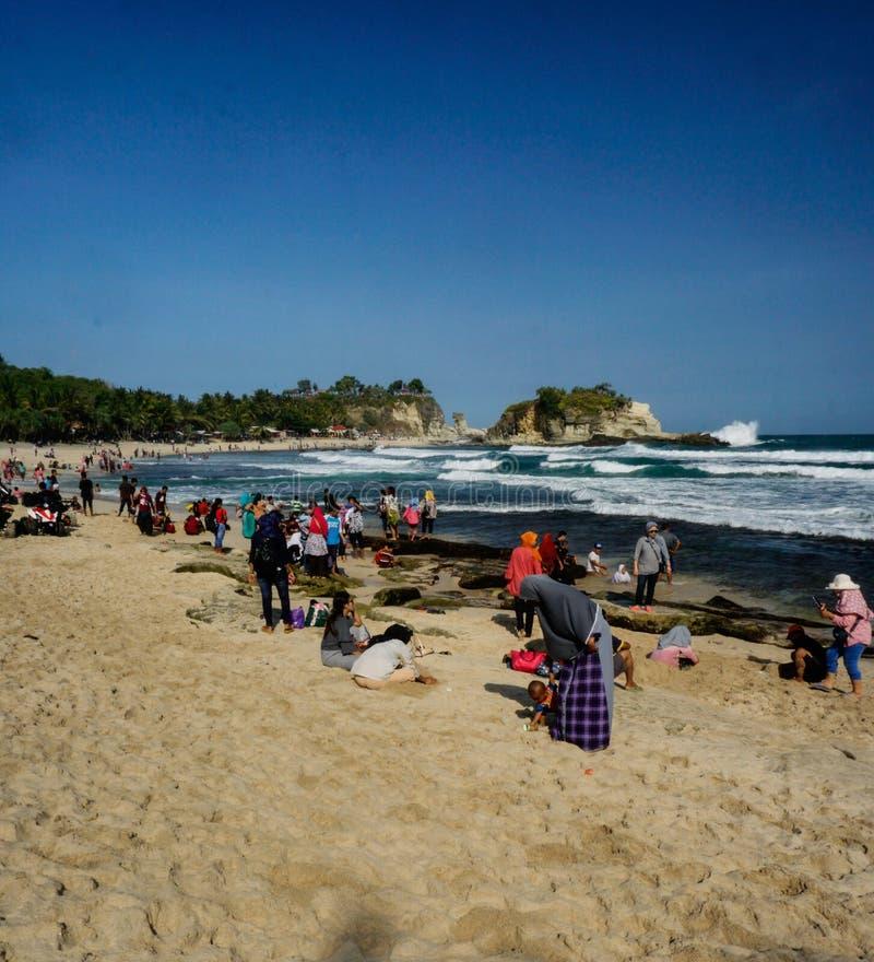 Klayar海滩Pacitan东爪哇省印度尼西亚 免版税图库摄影