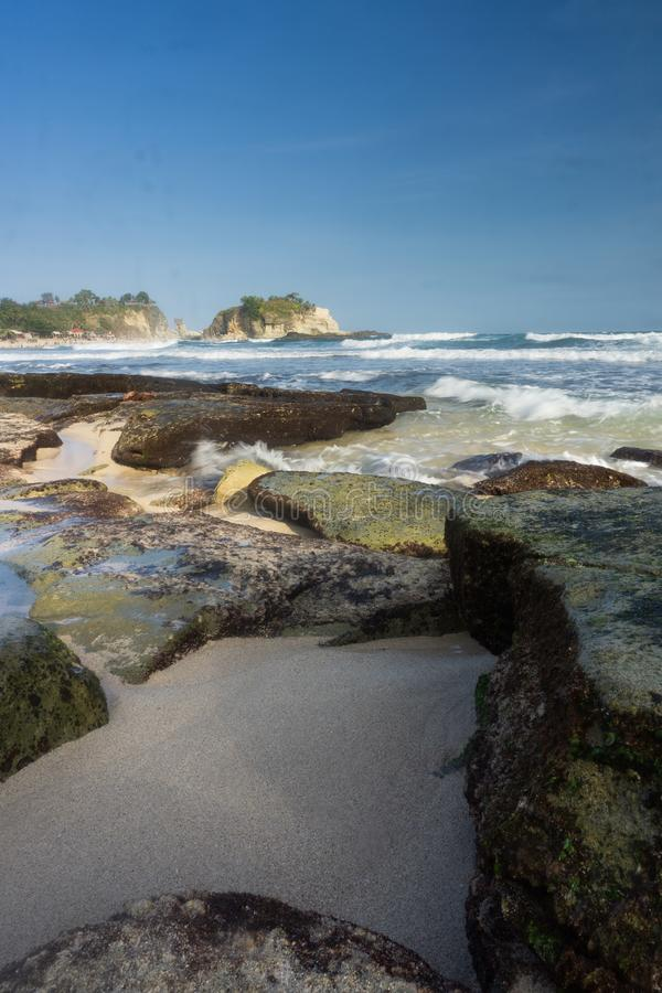 Klayar海滩Pacitan东爪哇省印度尼西亚 免版税库存照片
