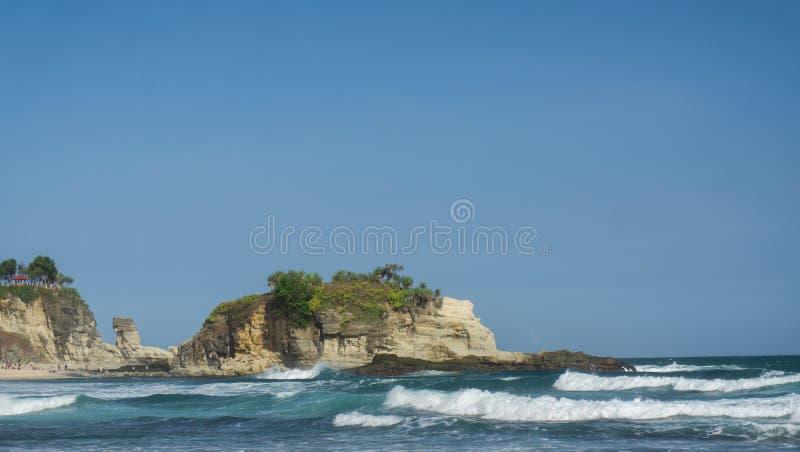 Klayar海滩Pacitan东爪哇省印度尼西亚 免版税库存图片