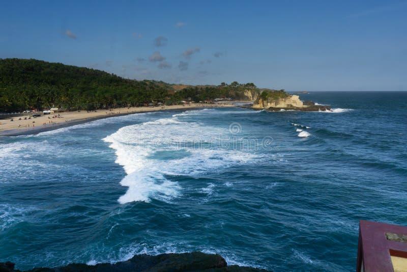 Klayar海滩Pacitan东爪哇省印度尼西亚 库存图片