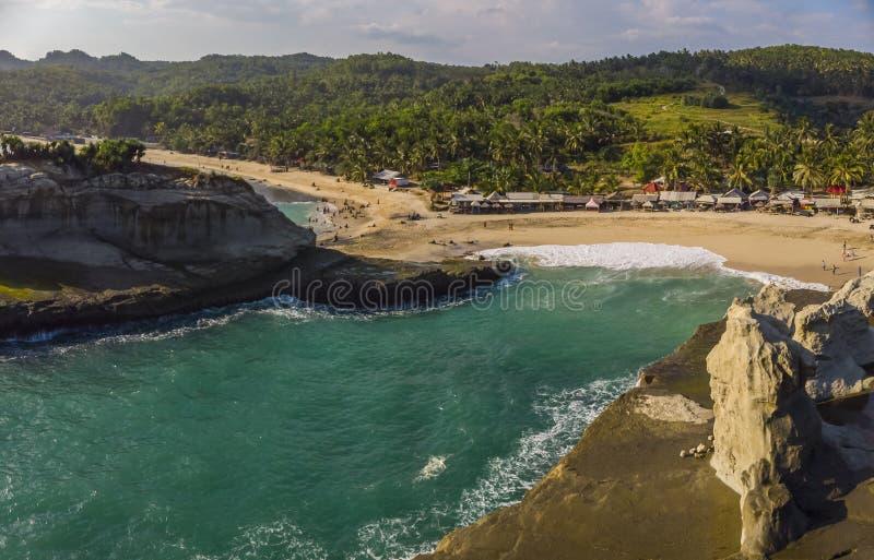 Aerial shot of Klayar beach stock images