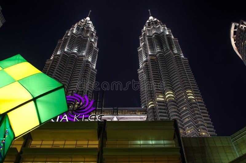 KLCC, Petronas Towers - twin skyscrapers in Kuala Lumpur. At night stock photography