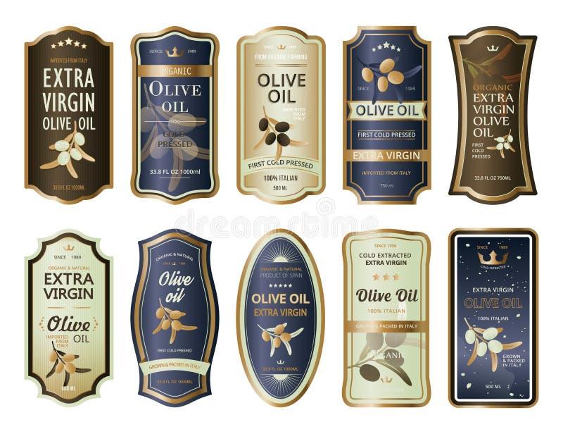 Klebeetiketten oder Aufkleber für Olivenölflaschen vektor abbildung