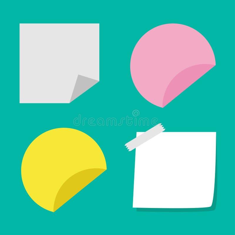 Klebende Papieranmerkungen und Tagsatz. Schablone. Flache Designart. lizenzfreie abbildung