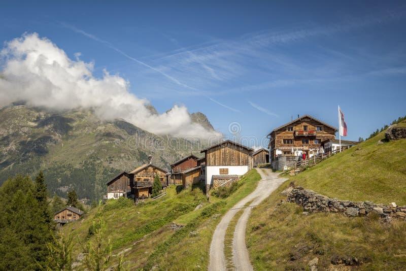KLeblealm, Sölden, Ötztal,提洛尔 免版税库存图片