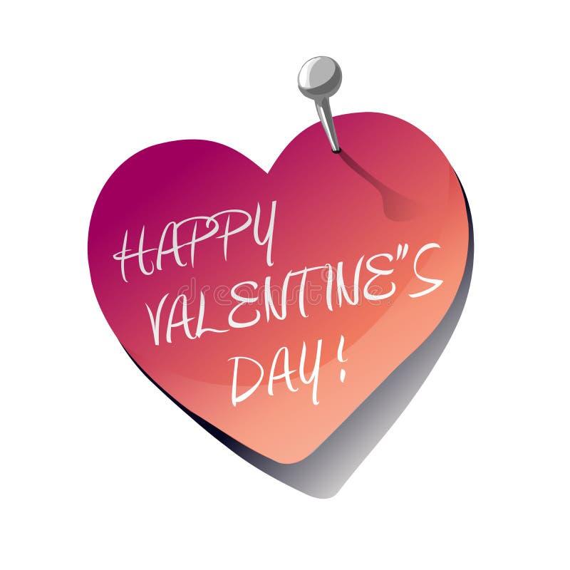 Klebrige Anmerkung des glücklichen Valentinstaginneren vektor abbildung