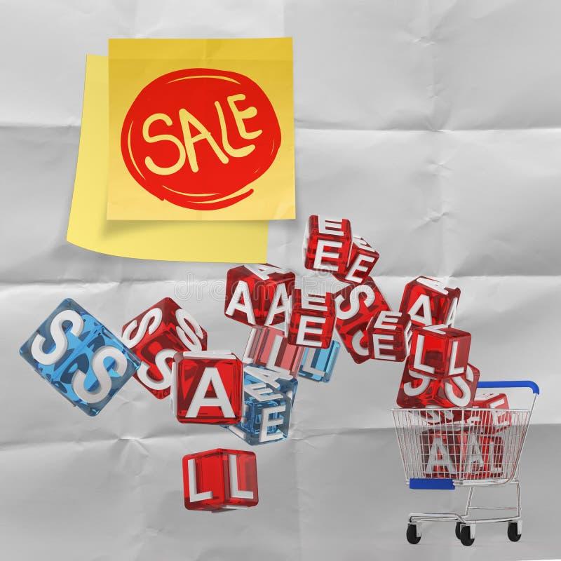 Klebrige Anmerkung mit Verkaufswort und Verkauf des Warenkorbes 3d auf zerknittert stock abbildung
