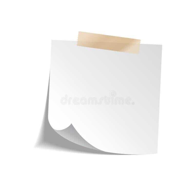 Klebrige Papieranmerkung mit Band und Schatten lokalisiert auf weißem Hintergrund leerzeichen vektor abbildung
