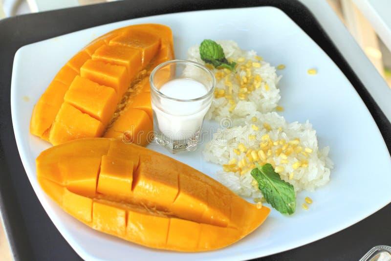 Klebriger Reis mit Kokosmilchmischung und reifer Mango lizenzfreies stockbild