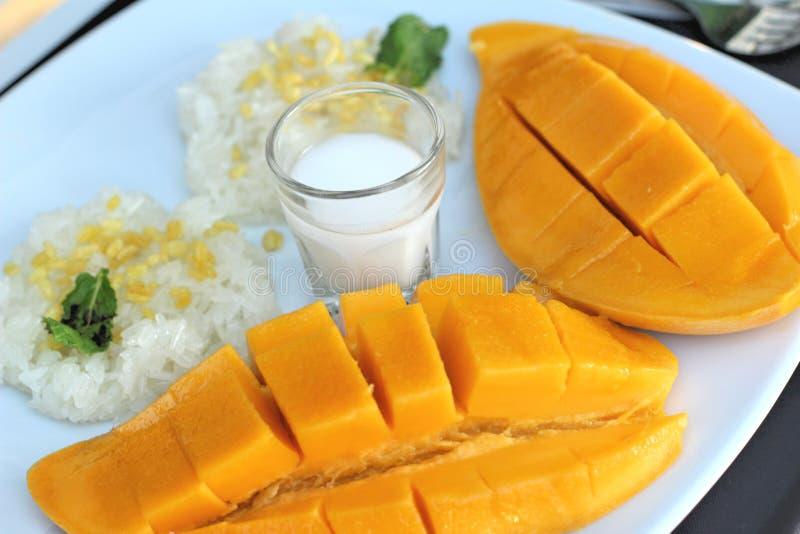 Klebriger Reis mit Kokosmilchmischung und reifer Mango lizenzfreie stockfotos