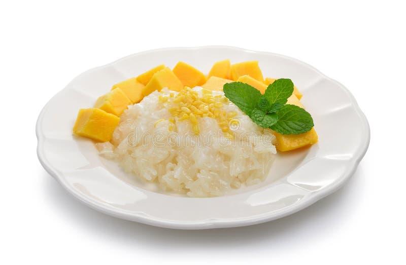 Klebriger Reis mit Mangofrucht stockfotografie