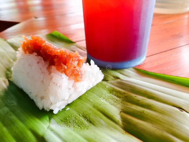 Klebriger Reis mit süßer Kokosnuss stockfotografie