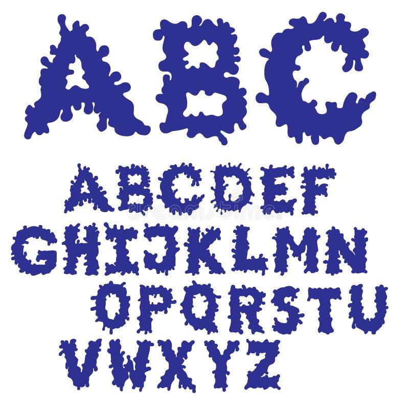 Klecks-Tinten-Guss gefüllt Hand gezeichneter Skizzeschrifttyp Blauer Alphabetsatz ENV 8 stockbilder