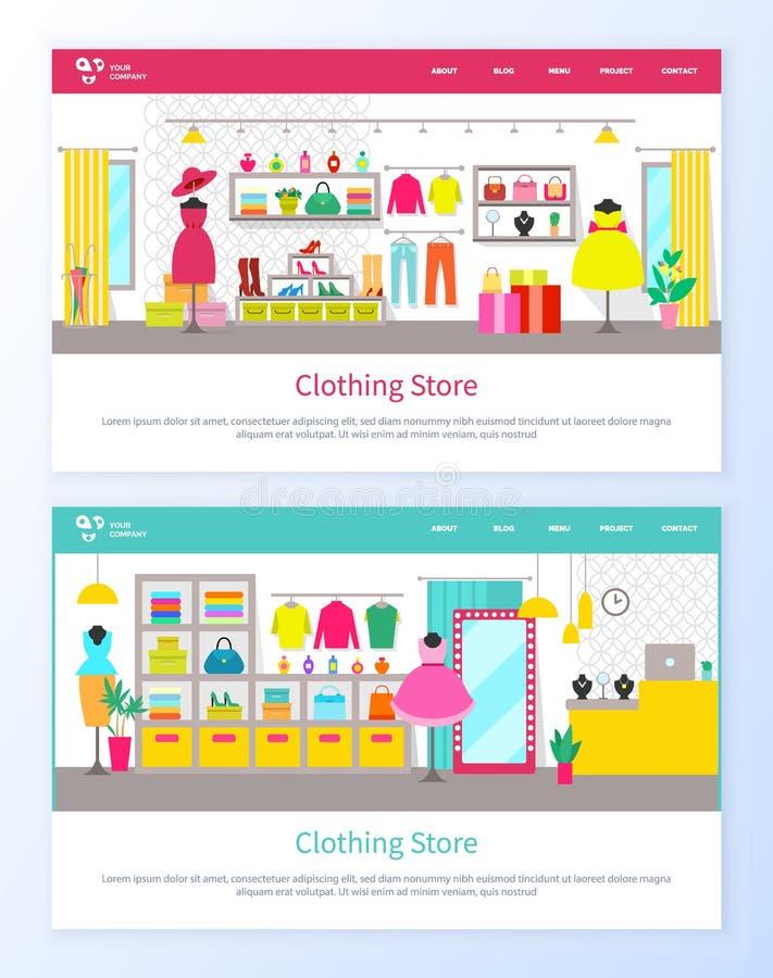 Kledende Opslagwinkel voor Vrouwen, Schoonheidsproducten vector illustratie