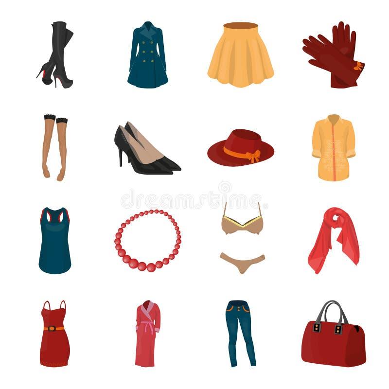 Kleding, bustehouder, schoenen, vrouwen` s kleding Vastgestelde de inzamelingspictogrammen van de vrouwen` s kleding in vector he vector illustratie