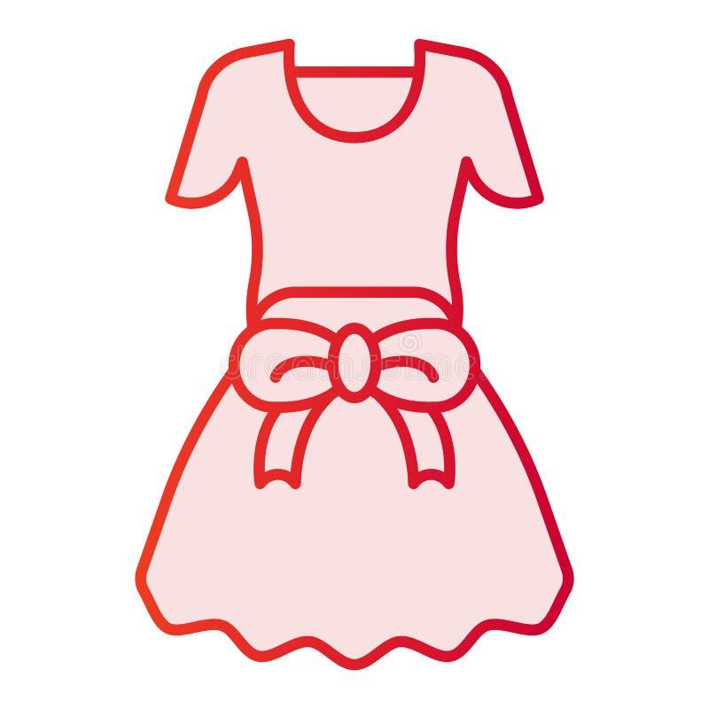 Kleding met boog vlak pictogram De roze pictogrammen van meisjeskleren in in vlakke stijl Het vrouwelijke de stijlontwerp van de  stock illustratie