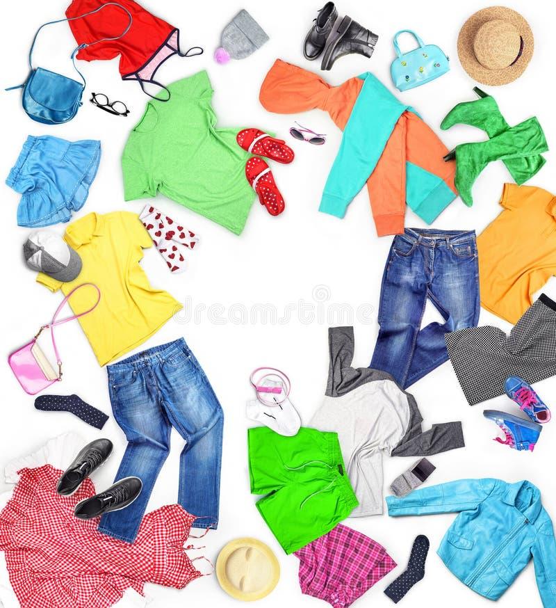 kleding Samenstelling met kleren voor mannen, vrouwen en kinderen, royalty-vrije stock fotografie
