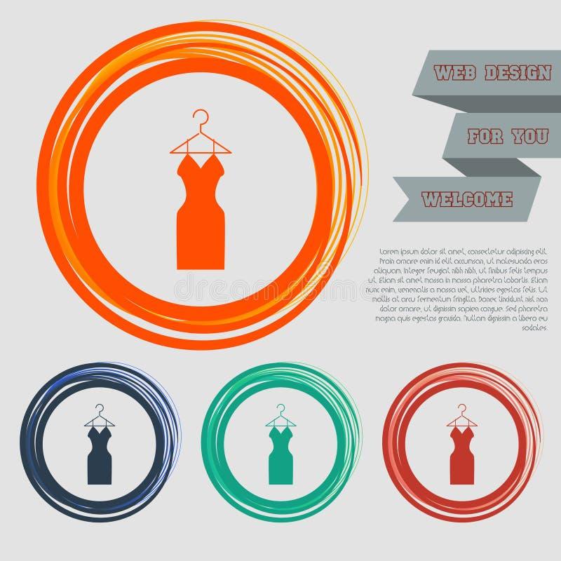 Kledingspictogram op de rode, blauwe, groene, oranje knopen voor uw website en ontwerp met ruimteteksten vector illustratie