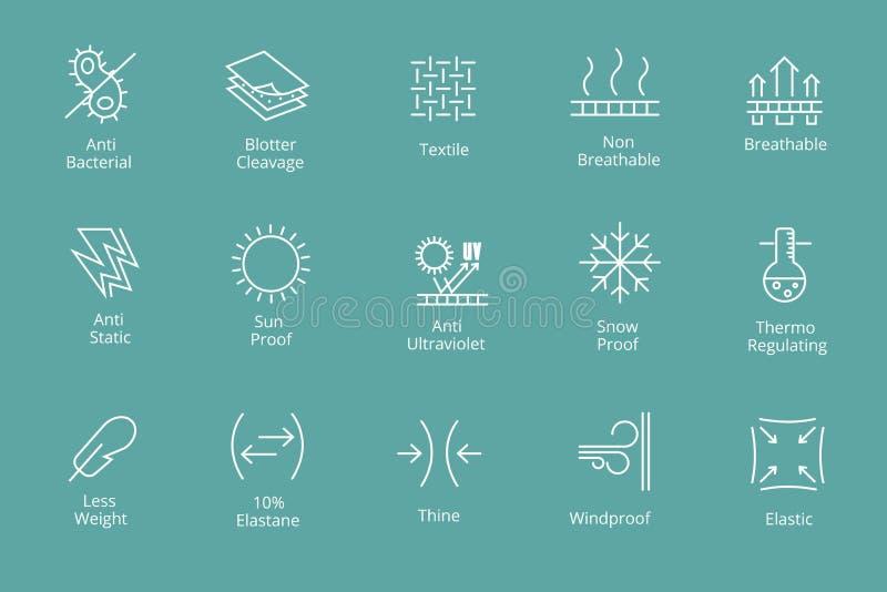 Kledingstukken en stoffeneigenschappen pictogrammen als antibacterieel waterdicht maken, de bescherming van de sneeuwzon royalty-vrije illustratie