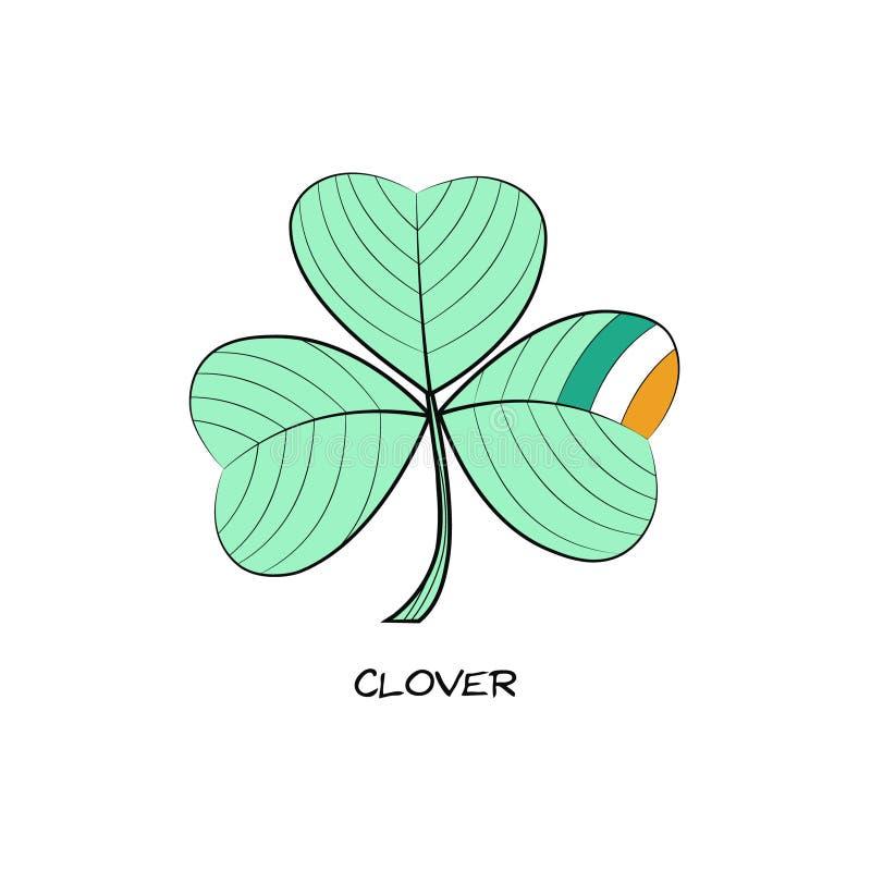 Klee-Handgezogene Ikone mit vier Blättern St- Patrick` s Tagessymbol lizenzfreie abbildung