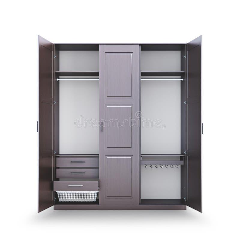 Kleedkamer Open die kast van donker hout wordt gemaakt Kastcompartiment royalty-vrije illustratie