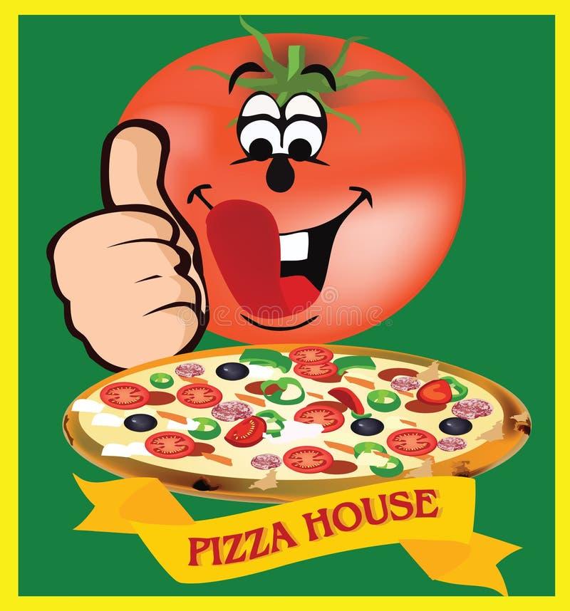Kleefstof en pizzaingrediënten stock illustratie